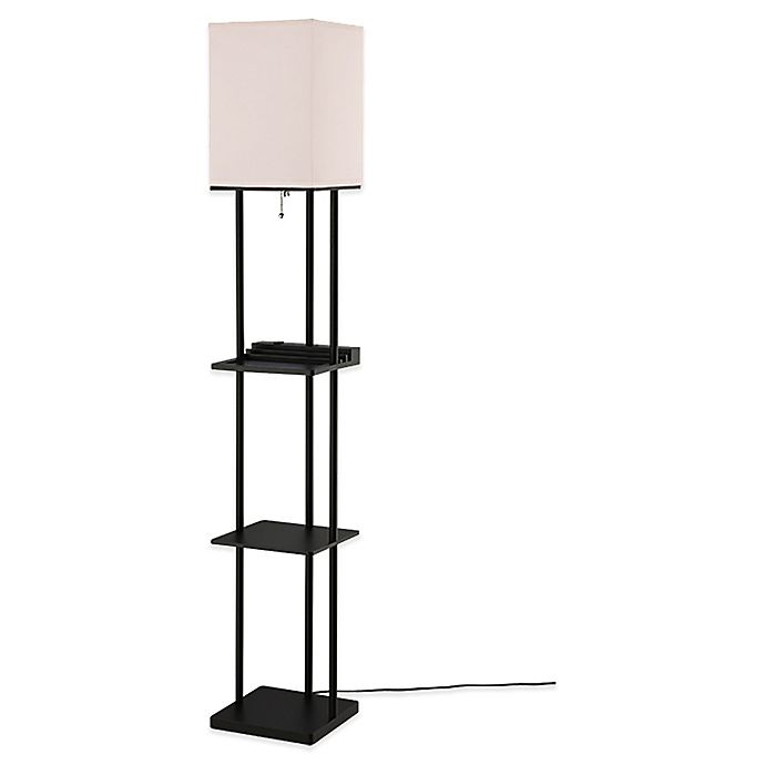 Alternate image 1 for Equip Your Space Étagère Floor Lamp with Charging Station
