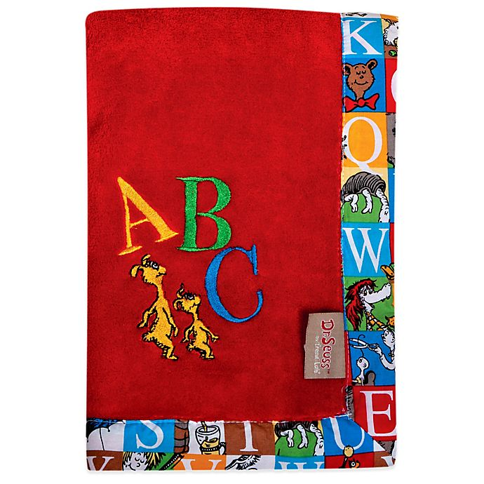 Alternate image 1 for Dr. Seuss™ by Trend Lab® Alphabet Seuss Coral Fleece Receiving Blanket