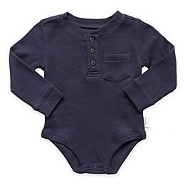 Planet Cotton® Crew Neck Long Sleeve Henley Thermal Bodysuit in Navy