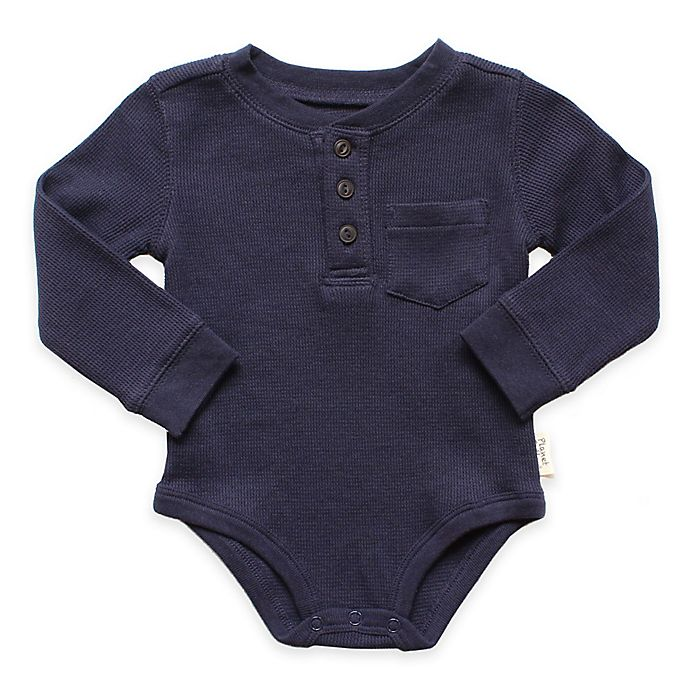 Alternate image 1 for Planet Cotton® Crew Neck Long Sleeve Henley Thermal Bodysuit in Navy