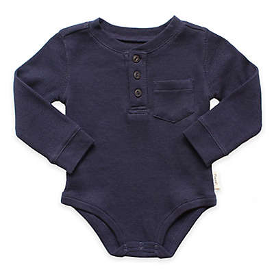 Planet Cotton® Crew Neck Long Sleeve Henley Thermal Bodysuit in Navy
