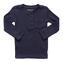 Planet Cotton® Crew Neck Long Sleeve Thermal Henley T-Shirt with Pocket in Navy