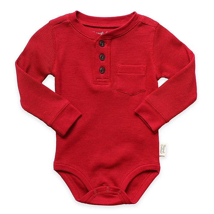 Alternate image 1 for Planet Cotton® Crew Neck Long Sleeve Henley Thermal Bodysuit in Red