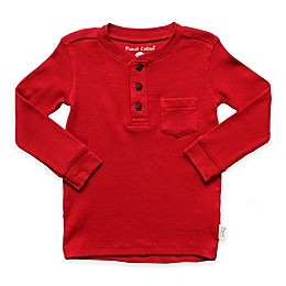 Planet Cotton® Crew Neck Long Sleeve Thermal Henley T-Shirt with Pocket in Red