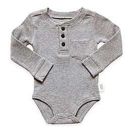 Planet Cotton® Crew Neck Long Sleeve Henley Thermal Bodysuit in in Grey