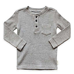 Planet Cotton® Crew Neck Long Sleeve Thermal Henley T-Shirt with Pocket in Grey