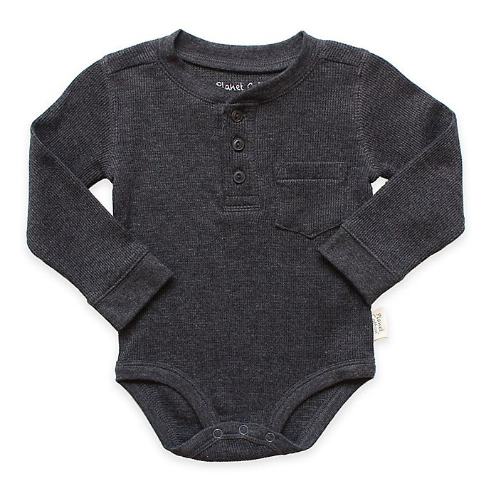 Alternate image 1 for Planet Cotton® Crew Neck Long Sleeve Henley Thermal Bodysuit in Charcoal