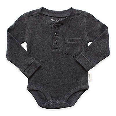 Planet Cotton® Crew Neck Long Sleeve Henley Thermal Bodysuit in Charcoal