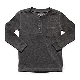 Planet Cotton® Crew Neck Long Sleeve Thermal Henley T-Shirt with Pocket in Charcoal