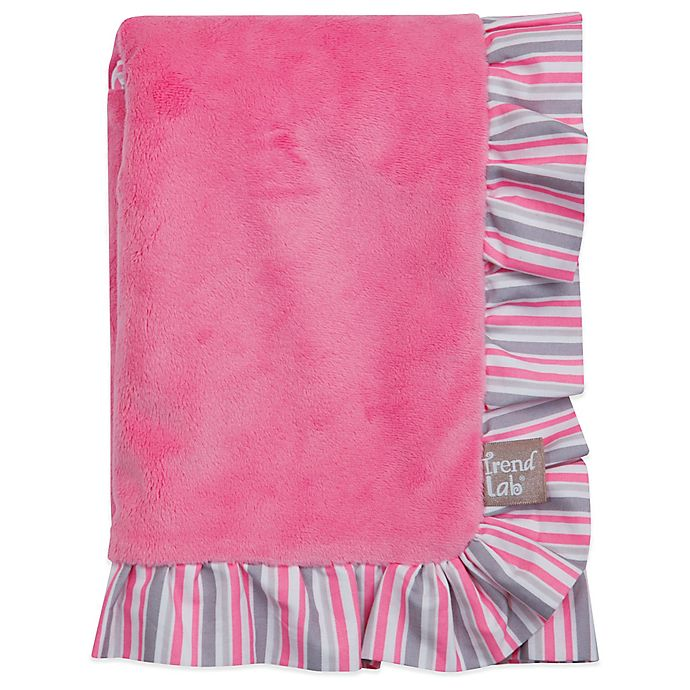 Alternate image 1 for Trend Lab® Lily Velour Ruffled Receiving Blanket in Pink