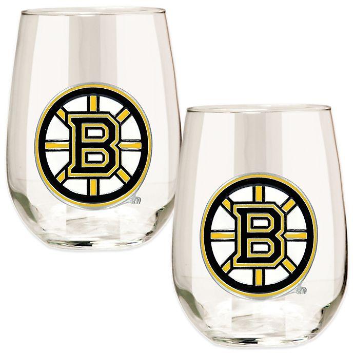 Alternate image 1 for NHL Boston Bruins Stemless Wine Glasses (Set of 2)