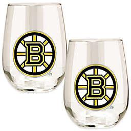 NHL Boston Bruins Stemless Wine Glasses (Set of 2)