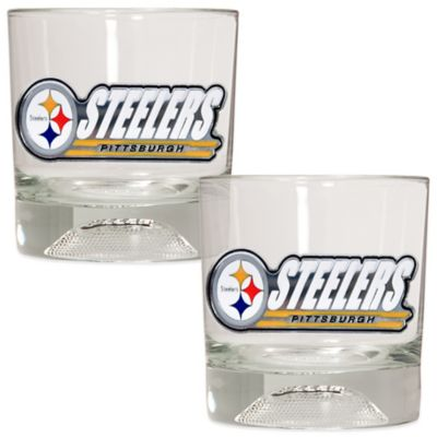 Nfl Pittsburgh Steelers Rocks Glass With Football Sculpted