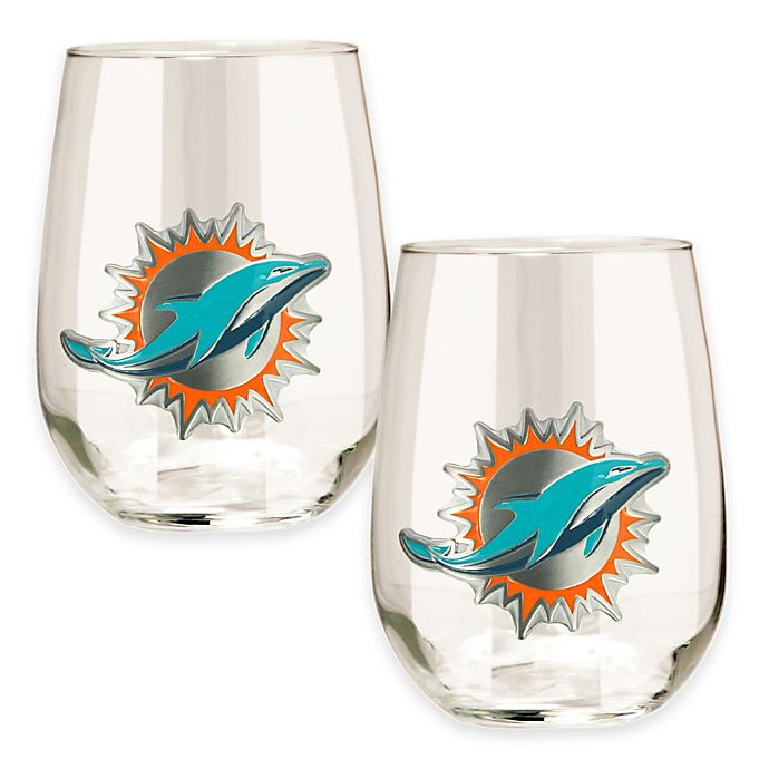 Alternate image 1 for NFL Miami Dolphins Stemless Wine Glass (Set of 2)
