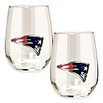 NFL New England Patriots Stemless Wine Glass (Set of 2)