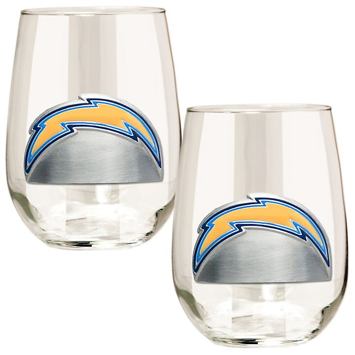 Alternate image 1 for NFL Los Angeles Chargers Stemless Wine Glass (Set of 2)