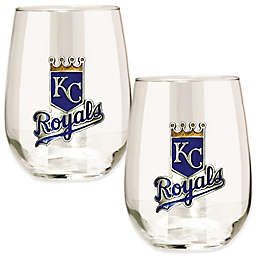 MLB Kansas City Royals Stemless Wine Glass (Set of 2)