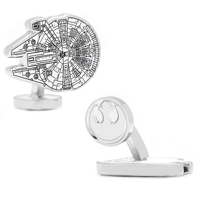 Alternate image 1 for Star Wars™ Silver-Plated Millennium Falcon Blueprint Cufflinks