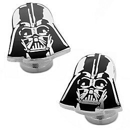 Star Wars™ Silver-Plated Recessed Matte Black Darth Vader Cufflinks