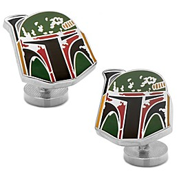 Star Wars™ Silver-Plated Boba Fett Distressed Helmet Cufflinks
