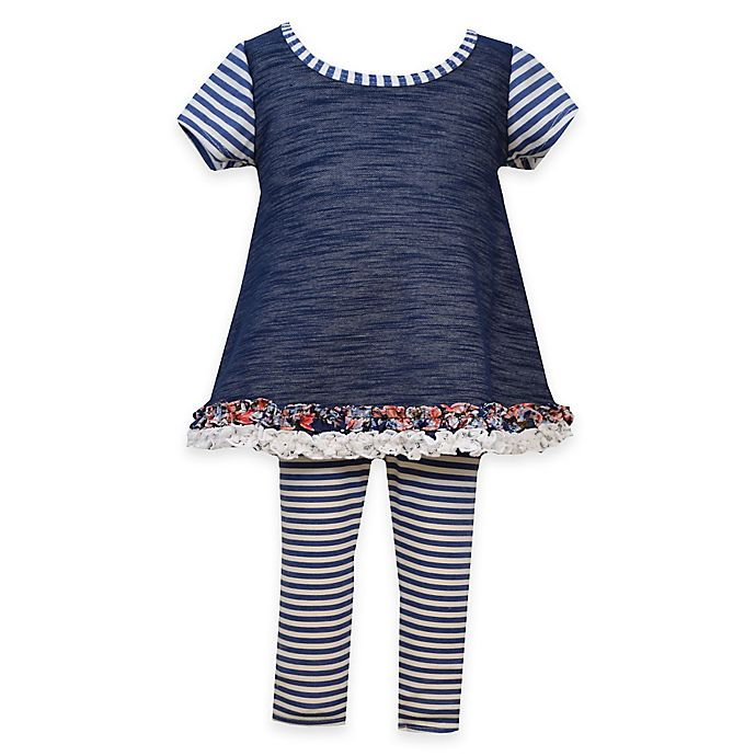 9f41371372 Bonnie Baby 2-Piece Ruffle Trim Chambray Top and Stripe Legging Set in  Navy White