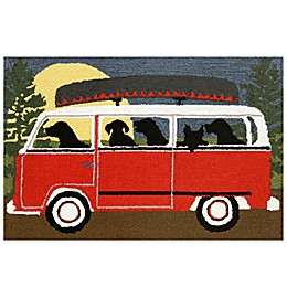 Trans-Ocean Camping Trip Accent Rug in Red