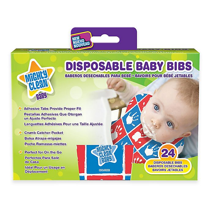 Alternate image 1 for Mighty Clean Baby™ 24-Pack Disposable Baby Bibs