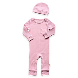Planet Cotton® 2-Piece Cotton Thermal Coverall and Cap Set in Pink