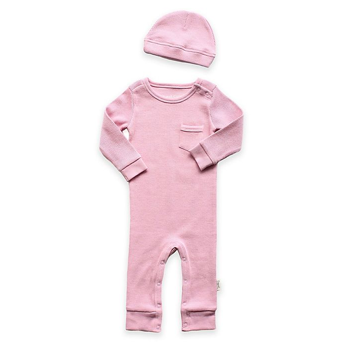 Alternate image 1 for Planet Cotton® 2-Piece Cotton Thermal Coverall and Cap Set in Pink