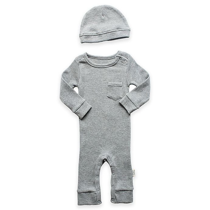 Alternate image 1 for Planet Cotton® 2-Piece Cotton Thermal Coverall and Cap Set in Heather Grey