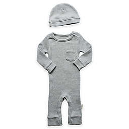 Planet Cotton® 2-Piece Cotton Thermal Coverall and Cap Set in Heather Grey