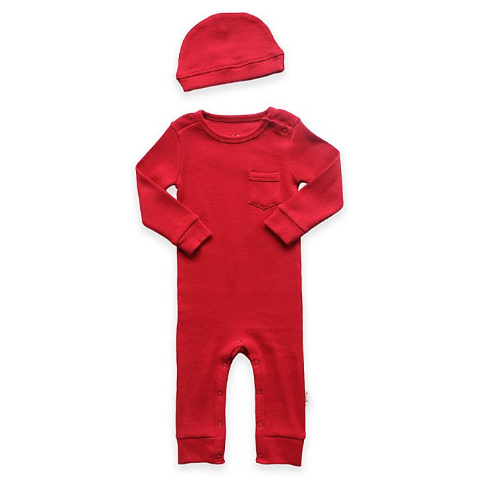 Alternate image 1 for Planet Cotton® 2-Piece Cotton Thermal Coverall and Cap Set in Red