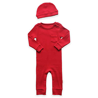 Planet Cotton® 2-Piece Cotton Thermal Coverall and Cap Set in Red