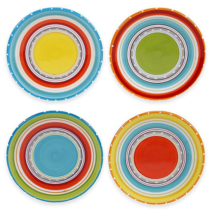 Alternate image 1 for Certified International Mariachi 4-Piece Canapé Plate Set in Multi