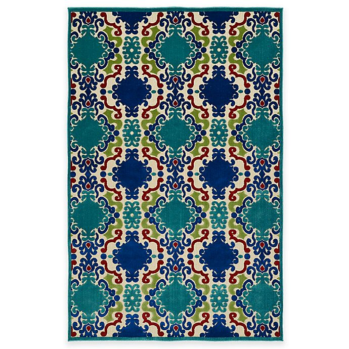 Alternate image 1 for Kaleen A Breath of Fresh Air Market 2-Foot 1-Inch x 4-Foot Indoor/Outdoor Accent Rug in Navy