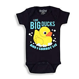 "Sara Kety® Size 12M ""I Like Big Ducks..."" Short Sleeve Bodysuit in Black/Yellow"