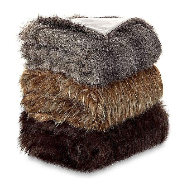 Alternate image 1 for Faux Fur Wolf Throw Blanket
