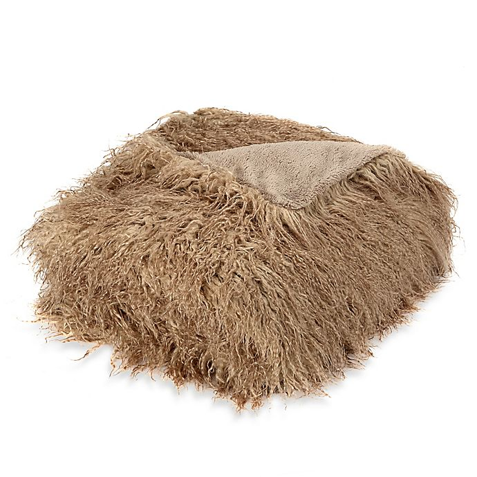 Alternate image 1 for Mongolian Faux Fur Throw Blanket in Taupe