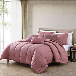 Eudora 6-Piece Reversible Full/Queen Comforter Set in Dark Rose