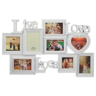 Live Laugh And Love 8 Photo Collage Frame In White Bed Bath And