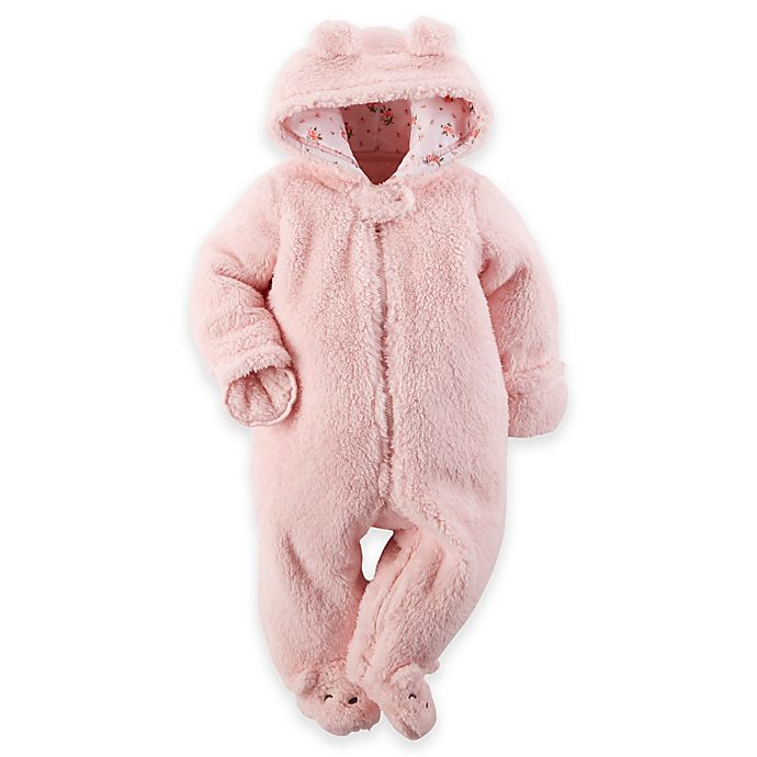 Alternate image 1 for Carter's® Hooded Sherpa Pram in Pink