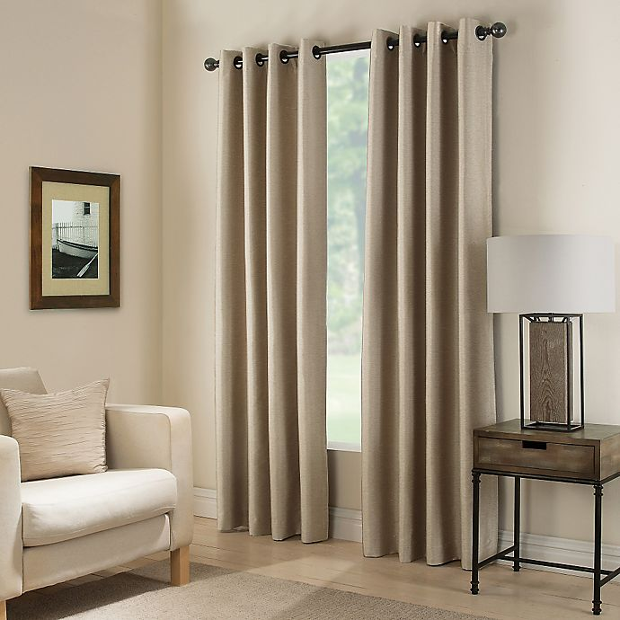 Alternate image 1 for Paradise 108-Inch Room Darkening Grommet Top Window Curtain Panel in Flax