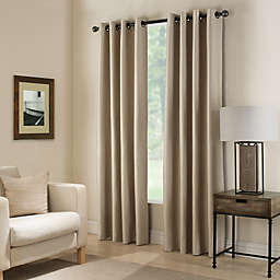 Paradise 108-Inch Room Darkening Grommet Top Window Curtain Panel in Flax