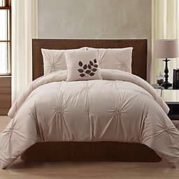 VCNY London 4-Piece Queen Comforter Set in Taupe