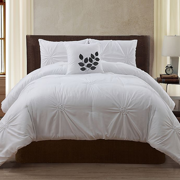 Alternate image 1 for VCNY London 4-Piece King Comforter Set in White