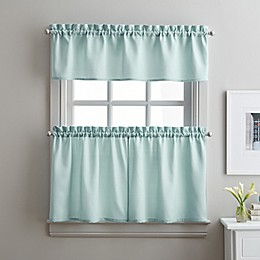 Solid Twill 36-Inch Window Tier and Valance Curtain Set