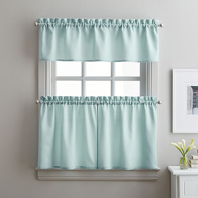 Alternate image 1 for Solid Twill 36-Inch Window Tier and Valance Curtain Set