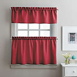 Solid Twill 36-Inch Window Tier and Valance Curtain Set in Red