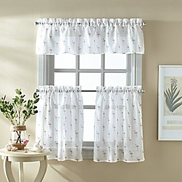 Flamingo 36-Inch Window Curtain Tier Pair and Valance in Coral