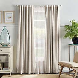 Martha Stewart Bedford 2-Pack Woven Plaid Backtab 100% Blackout Window Curtain Panels in White